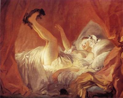La jeune fille faisant jouer son chien dans son lit. Jean Honoré Fragonard. (Paris, Fondation Cailleux.)